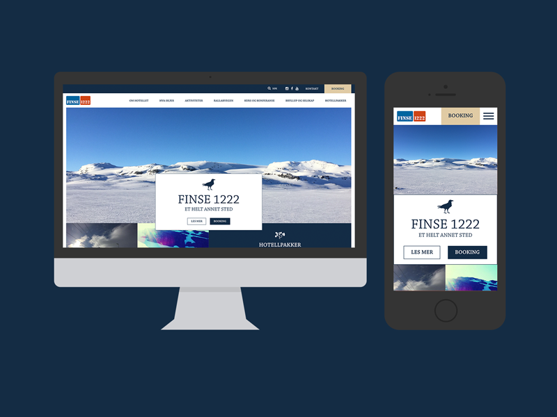 Finse1222 Website in Mockups