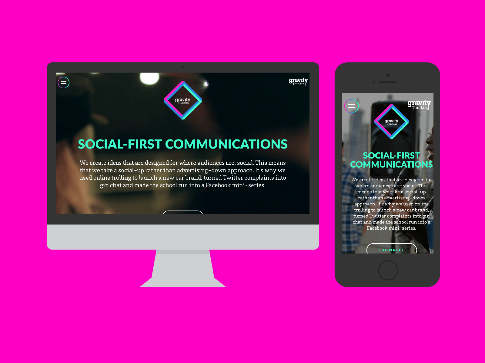 Gravity Thinking Website in Mockups