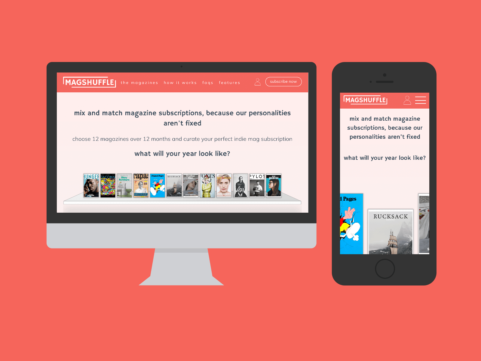 Magshuffle Website in Mockups