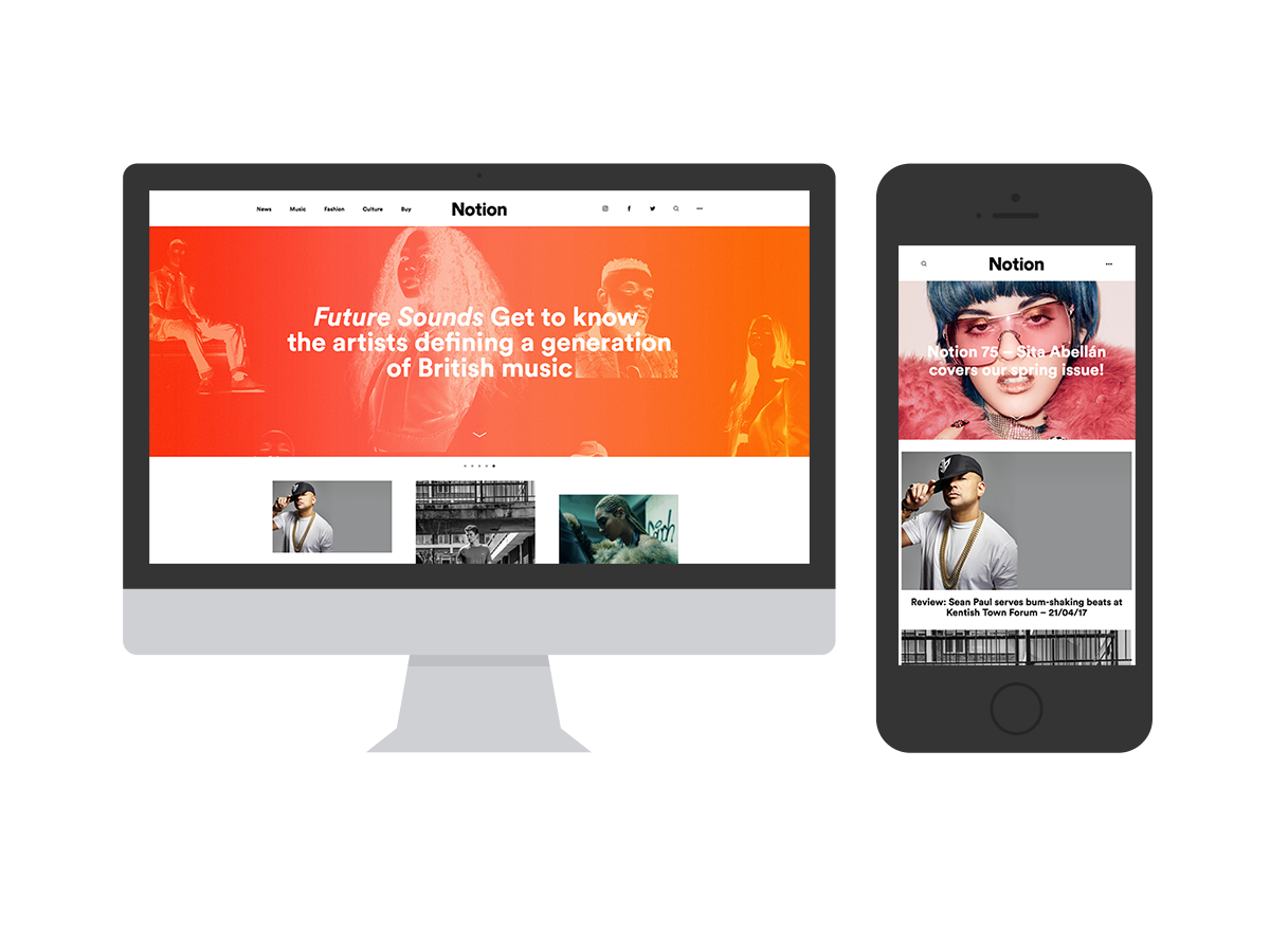 Notion Magazine Website in Mockups
